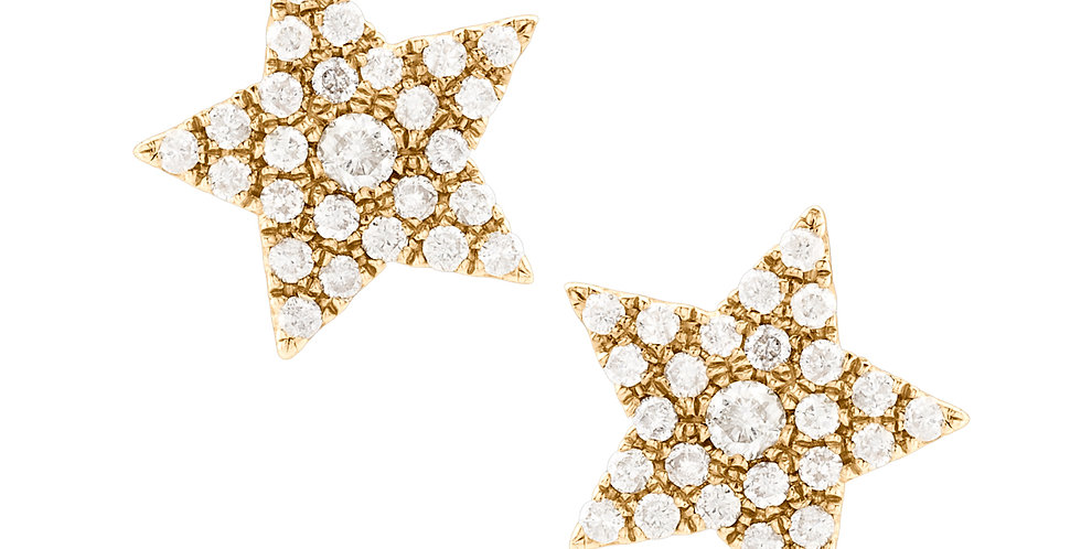 Star Earrings with Center Diamond