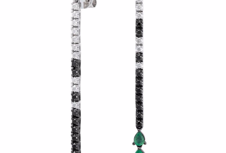 Long Emerald and Diamond Earrings