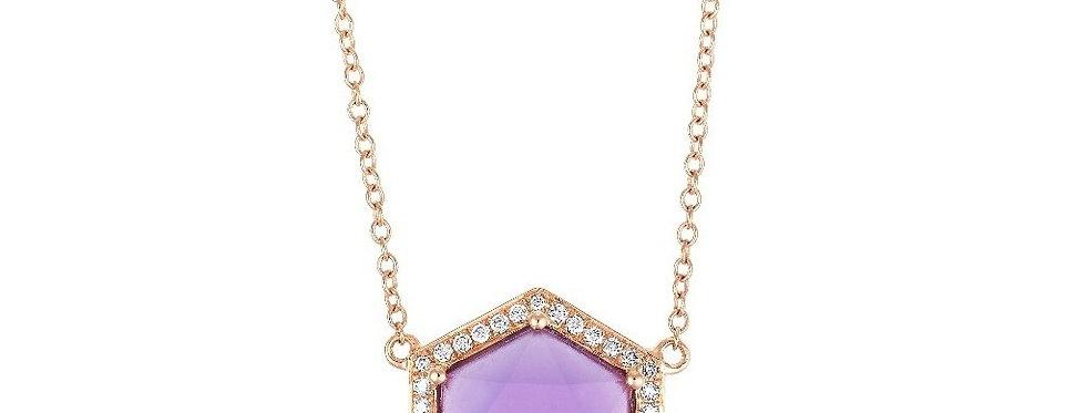 Hex pendant necklace (Amethyst & Diamonds)