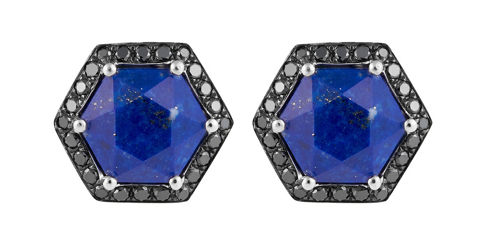 Hex Earrings (Lapis & Black Diamond)