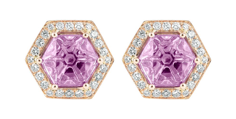 Hex Earrings (Amethyst & Diamond)