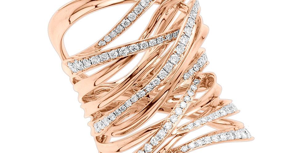 Multi strand diamond ring rose gold