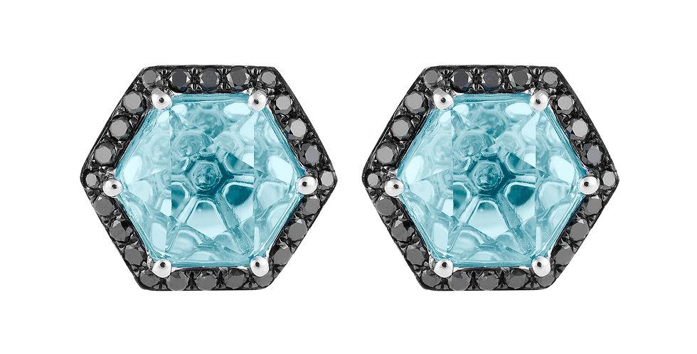 Hex Earrings (Aquamarine & Black Diamond)