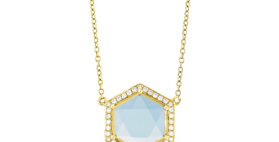 Hex pendant necklace (aquamarine and diamonds)