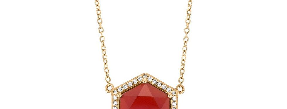Hex pendant (Cherry Quartz & Diamonds)