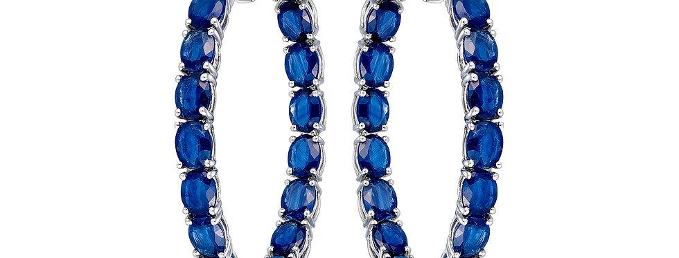 Eclipse Hoop Earrings (Oval Blue Sapphire)