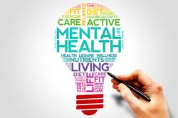 Mental health bulb word cloud, health co