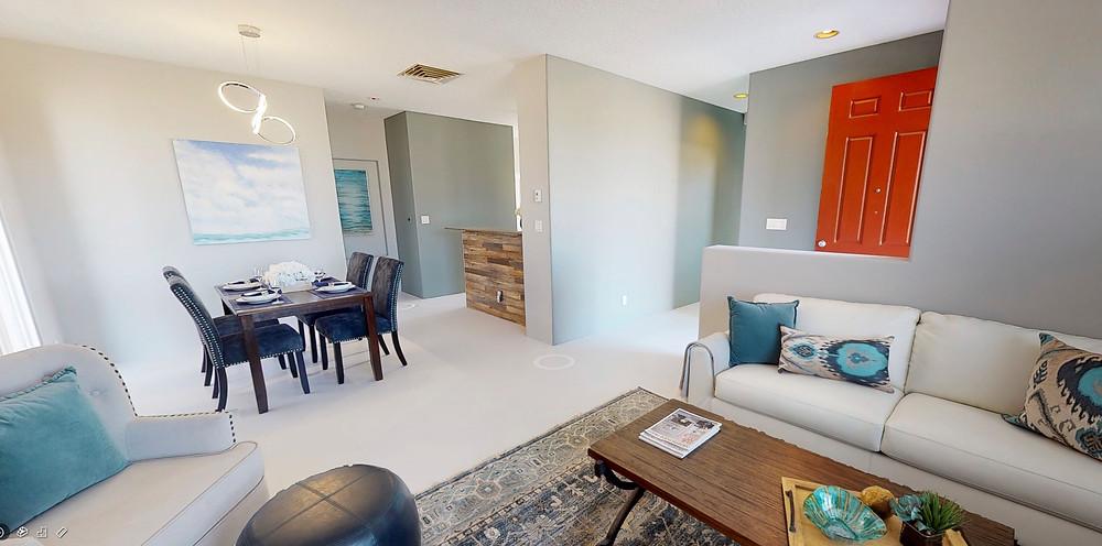 Open concept living room as seen in a virtual tour