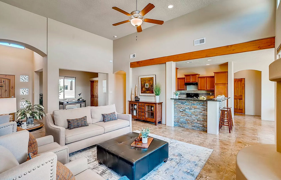 Warm and inviting open concept floor plan in newer Santa Fe home.