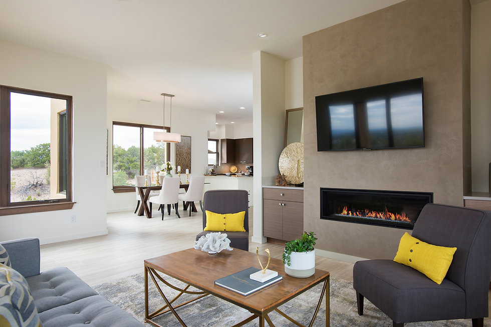 Contemporary open concept floor plan in new Santa Fe, NM home.