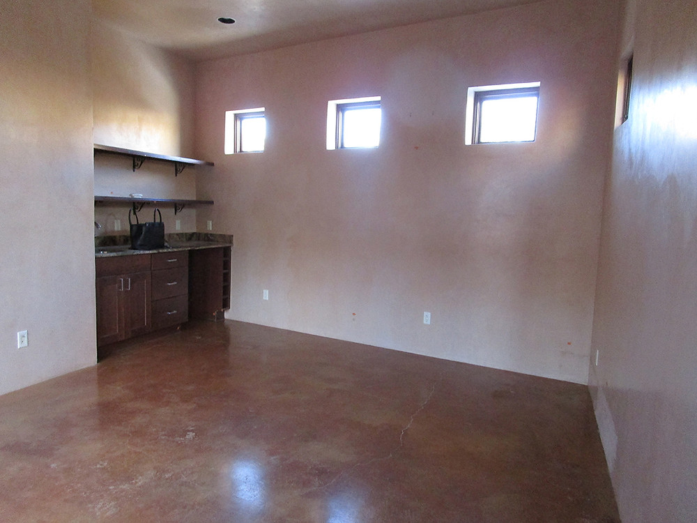 Empty casita space prior to deep cleaning.