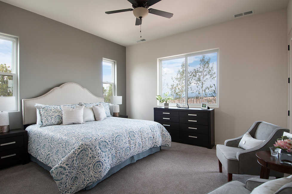 New bedroom in neutral paint colors with an upholstered head board and patterned duvet.