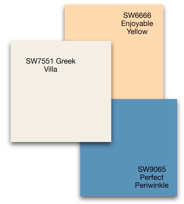 A selection of three wall paint colors from Sherwin Williams Tapestry 2021 colors