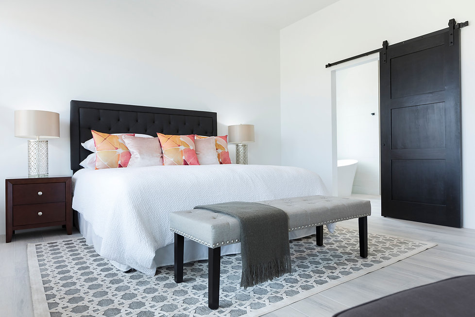 Master bedroom suite with calming neutral colors, bright accent pillows and a modern sliding barn door to bath.