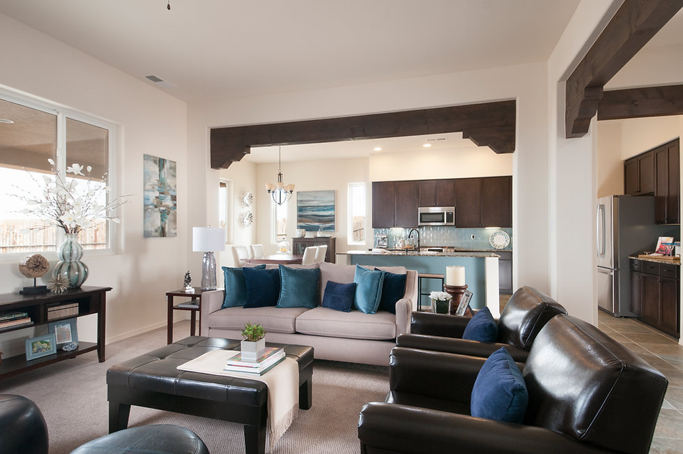 Bright living area of a Homewise custom home in Santa Fe, New Mexico.