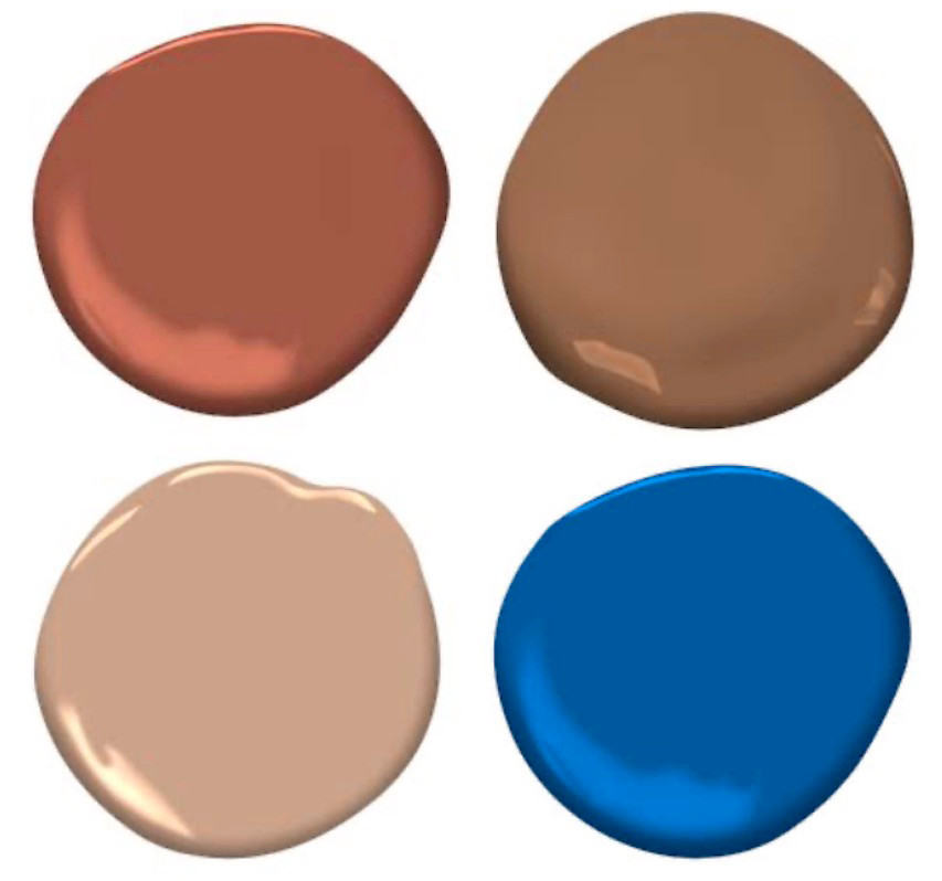 Four paint color samples based on a blue gate in an adobe wall