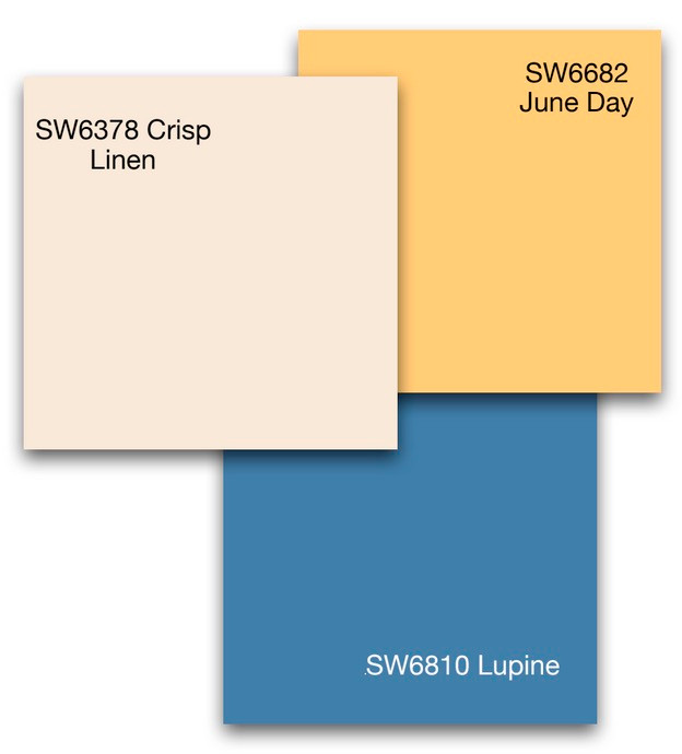 Three wall paint color samples inspired by Rio Grande river in NM chosen by Debbie DeMarais