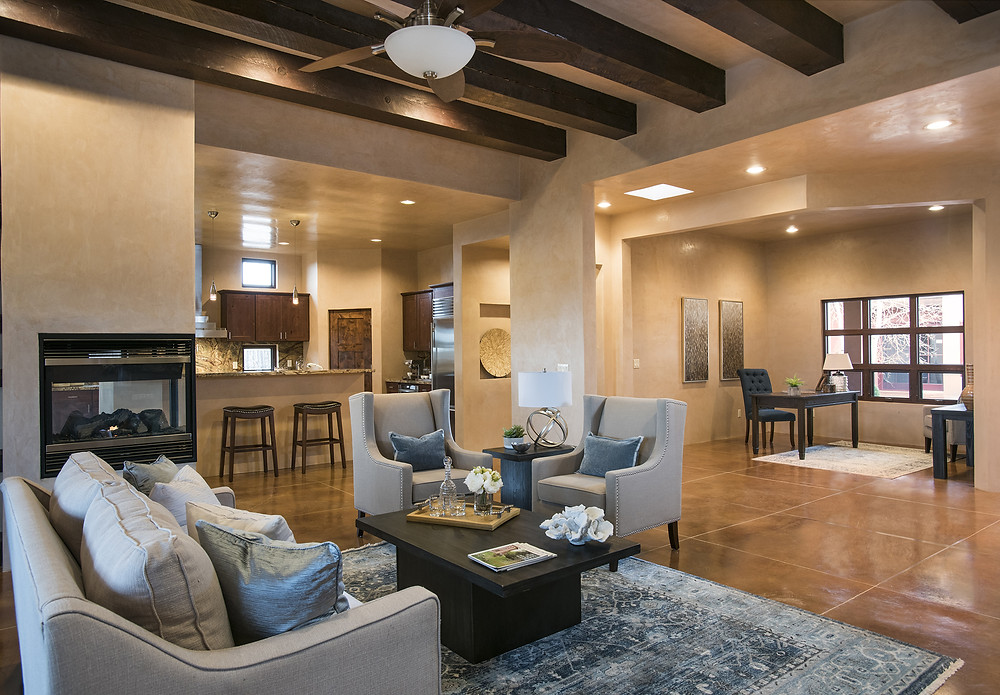 Open concept space after home staging looks inviting and stylish in time for open house.
