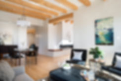 Luxury home staging of open concept Santa Fe space to prepare for real estate photographer.