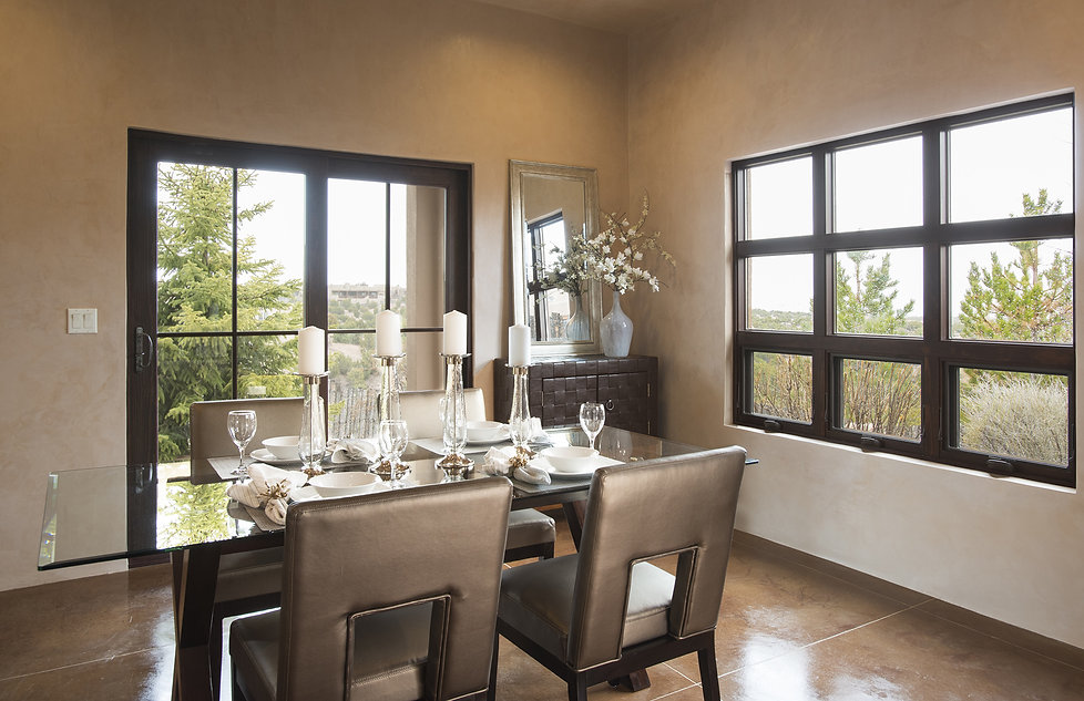 Dining room in custom New Mexico home staged perfectly for real estate photography.