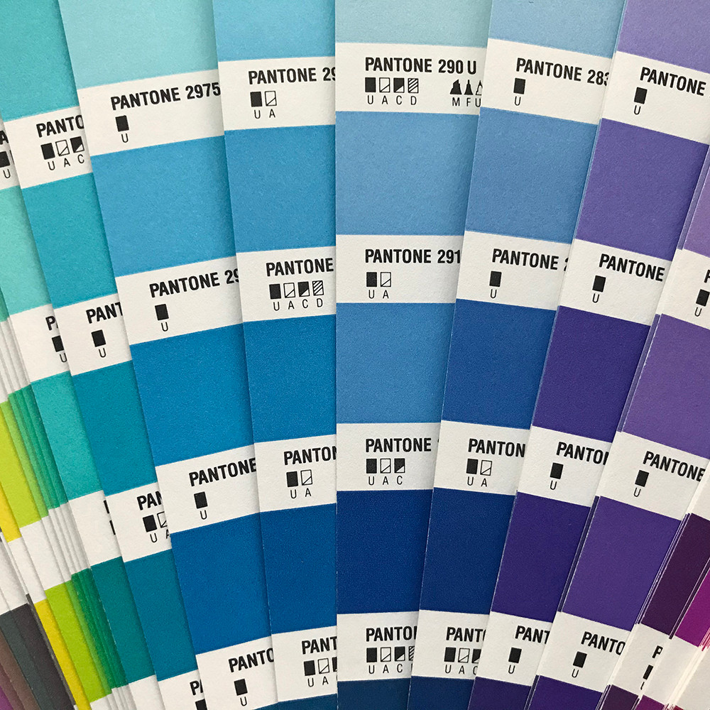 Close-up of Pantone color chart