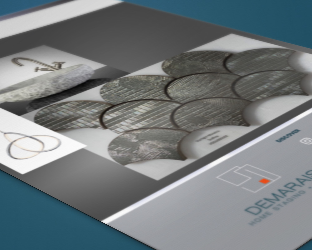 Close-up detail of an interior design mood board concept in greys and silver tones.