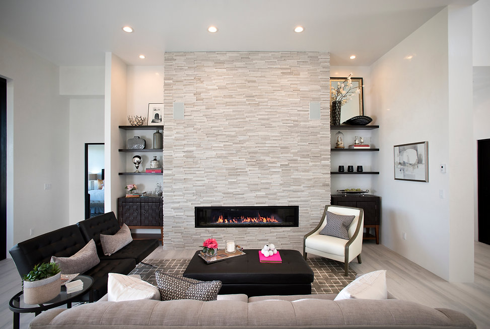 Modern Santa Fe show home staged in a monochrome palette with pink decor accents.
