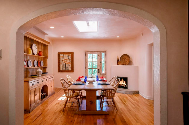 Hillside | Charming Dining Room with Fireplace