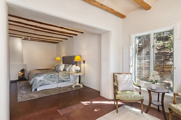 Tesuque Village   Bedroom with Fireplace