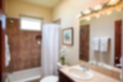 Rich earth tones are throughout the house, including the bathroom.