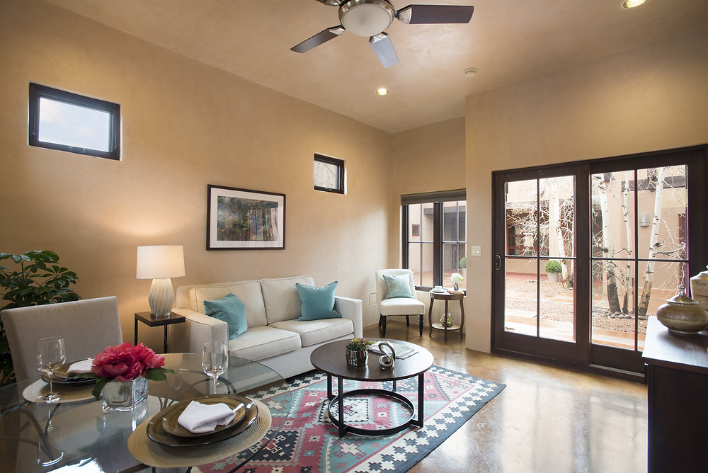 Charming guest space in Santa Fe compound staged by DeMaraias Home Staging and Design.