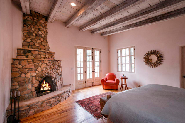 Hillside | Bedroom with Historic Stone Fireplace