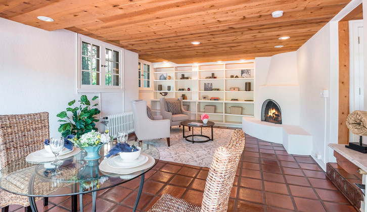 Hillside | SW Style Bonus Room with Built Ins and Kiva Fireplace