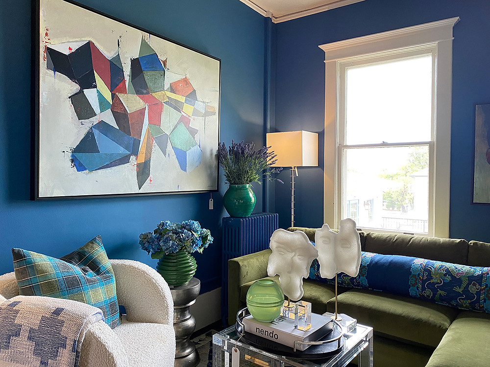 Blue themed showroom at Reside Home, an interior decor retailer in Santa Fe, NM
