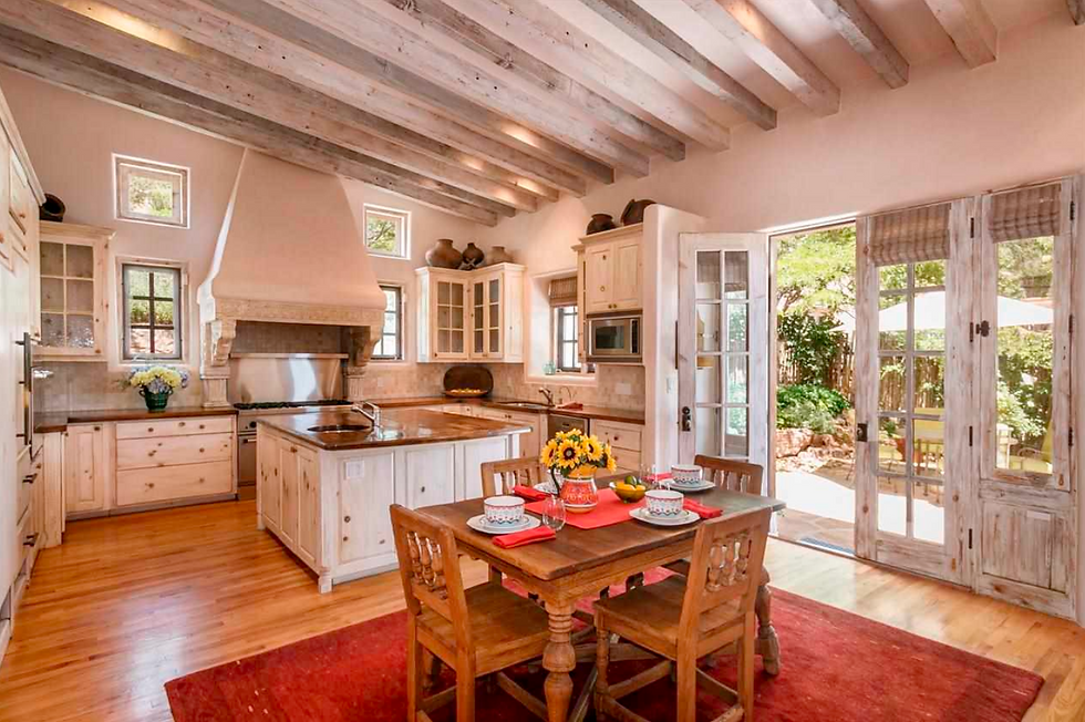 Beautiful southwest style kitchen remodel in historic home with dining area.