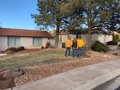 three men, yellow, working, workmen