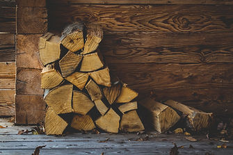 firewood, stacked wood, logs, cabin, cut, porch