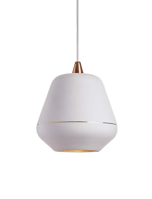 Etica White, hammered brass lamp