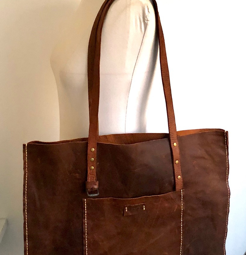 hand stitched leather tote by HOLDER