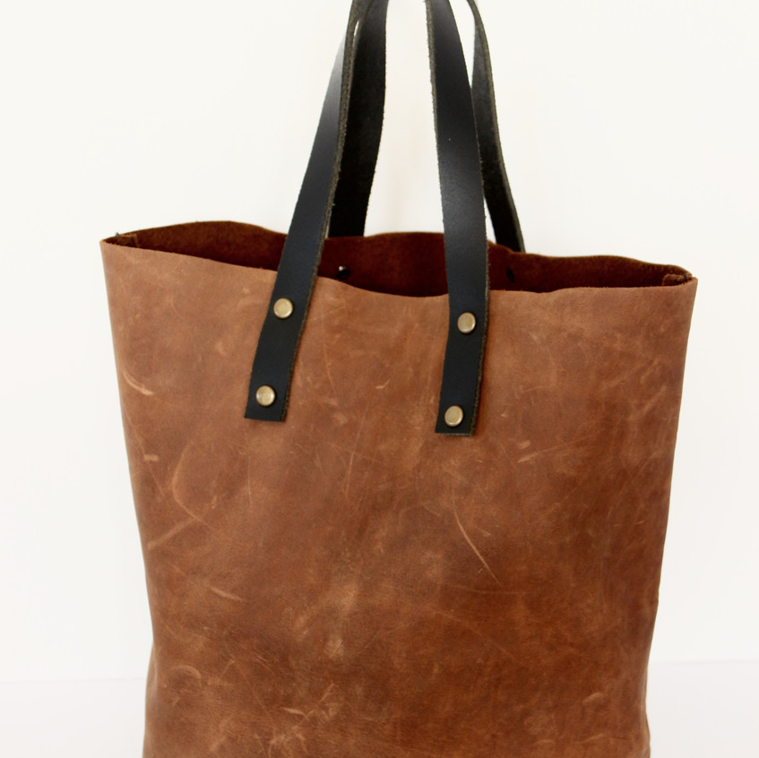 hand stitched mini leather tote