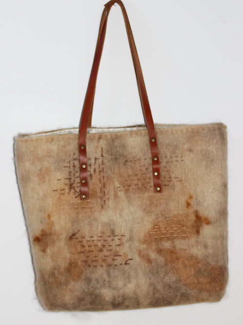 upcycled and eco dyed. one of a kind tote