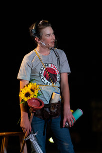 Chase, an 8th grader, rehearsing with just a few too many props.