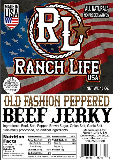 Old Fashion Peppered Beef Jerky [3oz] Bag