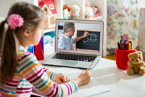 Middle-aged distance teacher having vide