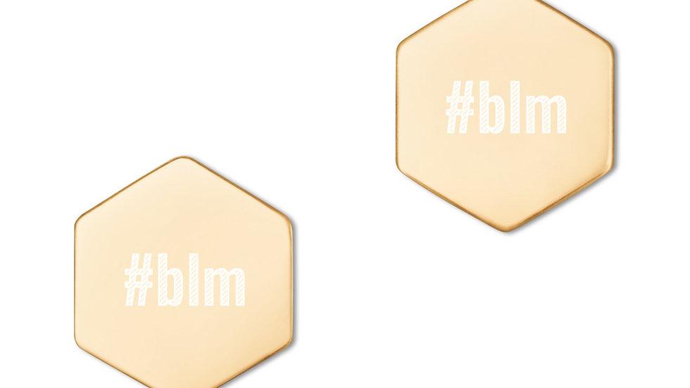 #blm Hexagon Stud Earrings