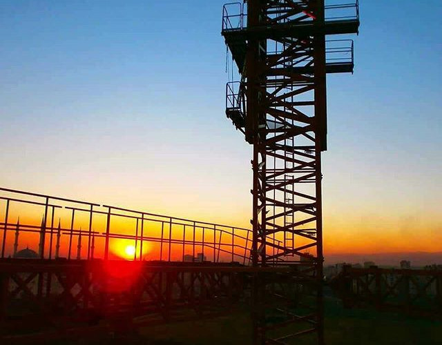 Turkey - tower crane with sunset