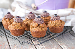 Vanilla Muffins with Blueberry Frost