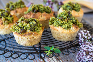 Banana Muffins with Matcha Streusel