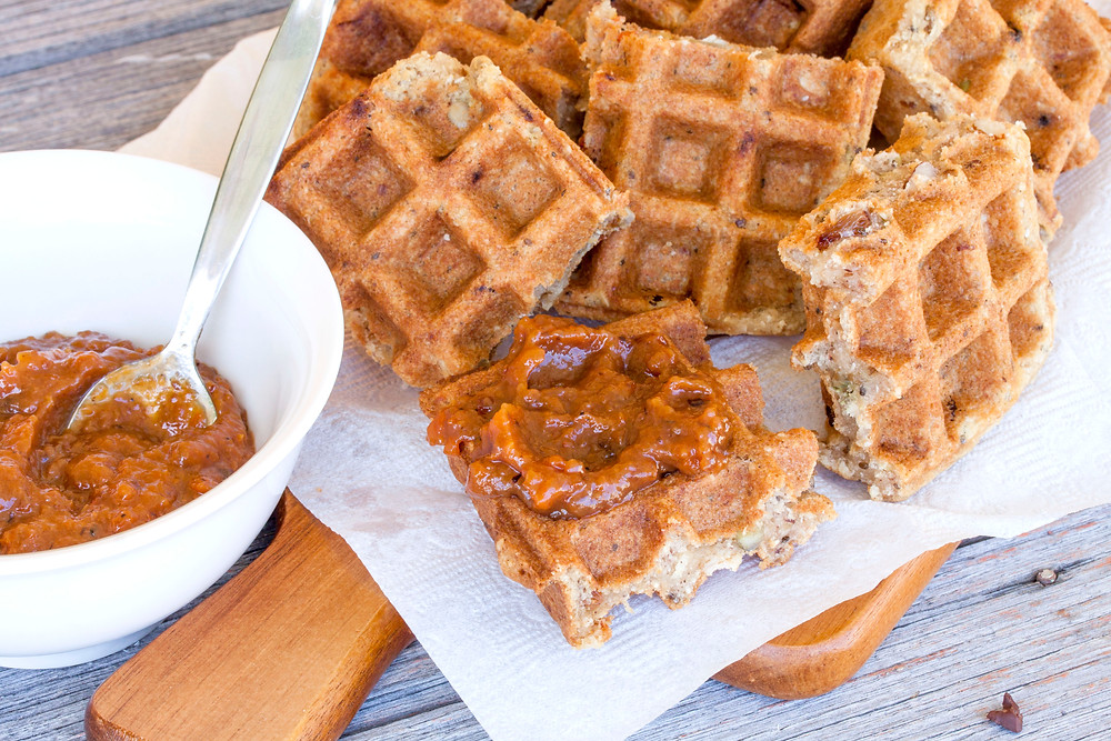 Peach and Loquat Jam with Muesli Waffles