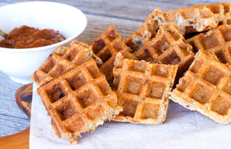 Crispy Muesli Waffles made with a special ingredient!